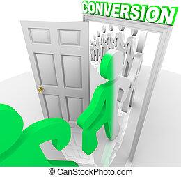 見込み, 人々, 顧客, 戸口, によって, 変換