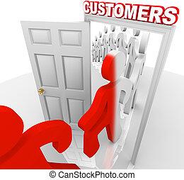 見込み, -, 顧客, 販売, 戸口, 変換
