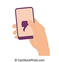 親指, 手, 下方に, 電話, 保有物, 痛みなさい