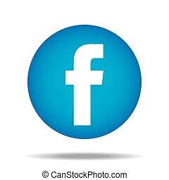 親指, f, ボタン, ベクトル, facebook