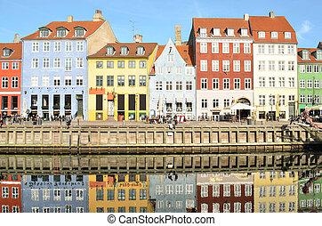 観光客, 有名, nyhavn, デンマーク, -, 魅力, コペンハーゲン