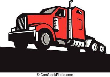 角度, 半 トラック, レトロ, トラクター, 低い