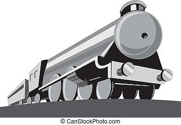 角度, 機関車, 列車, レトロ, 蒸気, 低い
