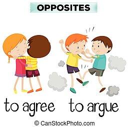 言葉, 反対, 同意しなさい, 口論しなさい