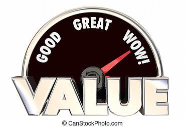 言葉, 速度計, 買い物, 値, 上, よい, 高く, 購入, 最も良く, 3d