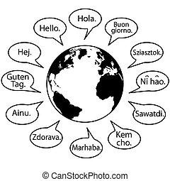 言語, 発言権, 地球, 世界, 翻訳しなさい, こんにちは