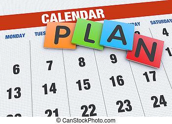 計画, 概念, カレンダー