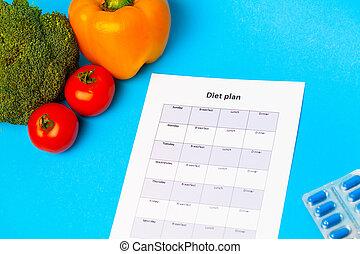 計画, 食事, 新たに, 丸薬, 青い背景, 重量, 野菜, 損失