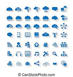 計算, 雲, 網, ネットワーク, アイコン