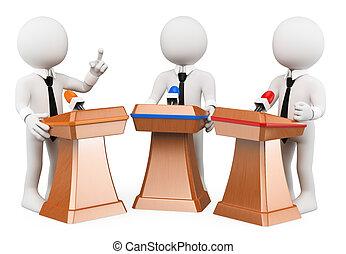 討論, 人々。, 政治的である, 3d, 白
