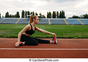 訓練, スポーツウェア, ランナー, 女性, 競技場