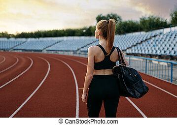 訓練, スポーツ, 袋, 手掛かり, ランナー, 女性, 競技場