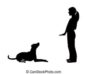 訓練, 座りなさい, 犬, 下方に, (obedience):, 命令