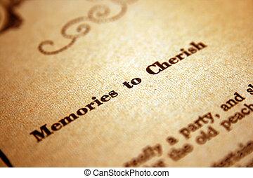 記憶, 大事にしなさい