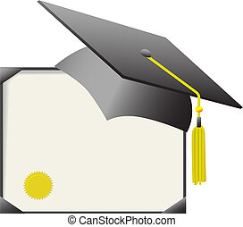 証明書, &, 帽子, 卒業証書, 卒業, mortarboard