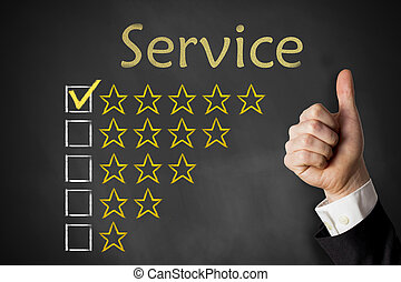 評価, サービス, の上, 親指, 星, 黒板