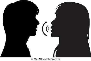 話し, シルエット, 女性, 2, 若い