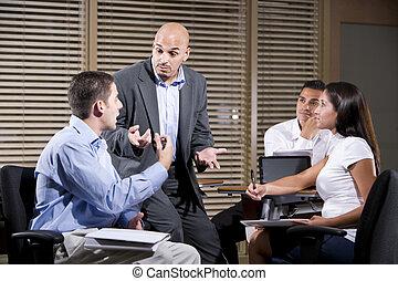話し, 労働者, グループ, マネージャー, オフィス