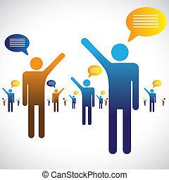 話し, 談笑する, アイコン, 多数, graphic., 人々, イラスト, 1(人・つ), シンボル, 他, チャット, ∥あるいは∥, 話すこと, ショー