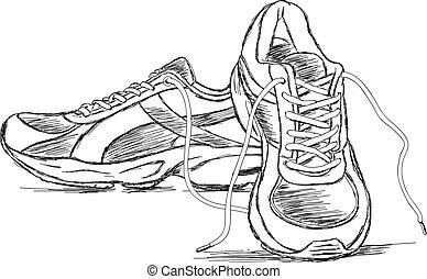 詳しい, スポーツ, スニーカー, 靴, ベクトル