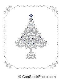 詳しい, 木, フレーム, 装飾, 銀, クリスマス