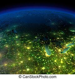 詳しい, 要素, 小屋, 照らされた, 供給される, 誇張された, ライト, イメージ, 地勢, oceans., moonlight., 水, これ, nasa, 地球, 都市, 大いに, 半透明, 白熱