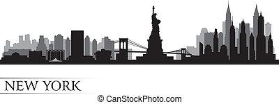 詳しい, 都市, シルエット, スカイライン, ヨーク, 新しい