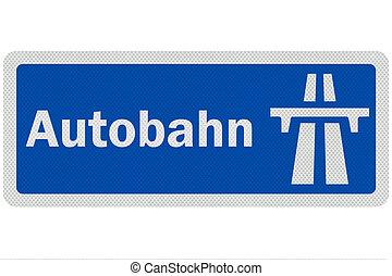 詳しい, 'autobahn', 印, 写真, 隔離された, 現実的, 白