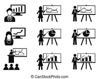 講義, セット, ミーティング, ビジネス アイコン