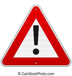 警告, 三角形, 隔離された, 印
