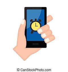 警報, smartphone, app, 手を持つ