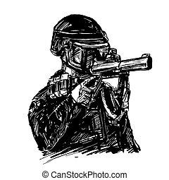 警察, アメリカ, 図画, ガス, 銃, 涙