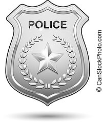 警察, ベクトル, バッジ