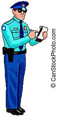警察, 切符, -, 士官, 駐車