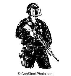 警察, 図画, 銃