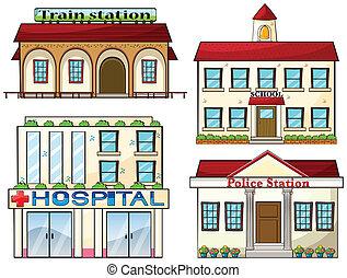 警察, 学校, 列車, 病院, 駅, 駅