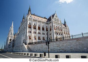 議会, ハンガリー人, europe., ブダペスト, サイド光景