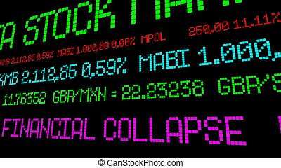 財政, チッカー, 崩壊, 株