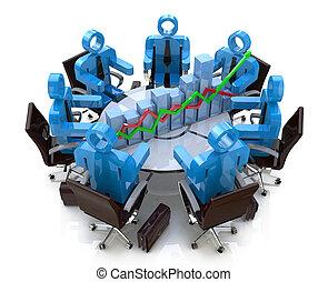 財政, ビジネス 人々, -, チャート, 図, テーブル, ミーティング, ラウンド, 3d