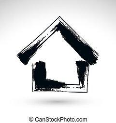 財産, 単純である, 家, logotype, 手, アイコン, s, 国, コテッジ, 引かれる