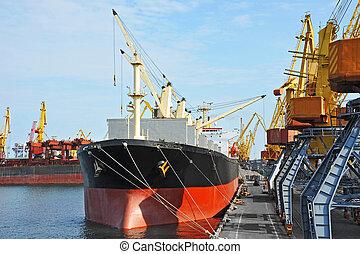 貨物, 港, 大部分, 下に, 船, クレーン
