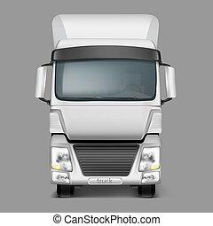 貨物, 現実的, トラック, 前部, 3d, 光景