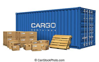 貨物, 箱, ボール紙, 容器