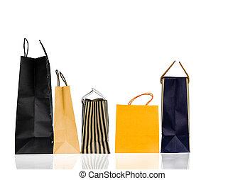 販売, 黄色, ペーパー, 年, 袋, concept., 隔離された, バックグラウンド。, 新しい, 白い クリスマス, 買い物, 青, color., 割引, 5, プレゼント, 消費者運動, ブラウン, 贈り物袋, bag., ∥あるいは∥