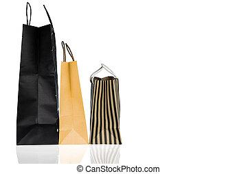 販売, 黄色, 3, ペーパー, 年, 袋, concept., 隔離された, バックグラウンド。, 新しい, 白い クリスマス, 買い物, color., 割引, プレゼント, 消費者運動, ブラウン, 贈り物袋, 黒, bag., ∥あるいは∥