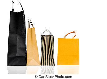 販売, 黄色, 4, ペーパー, 年, 袋, concept., 隔離された, バックグラウンド。, 新しい, 白い クリスマス, 買い物, 青, color., 割引, プレゼント, 消費者運動, ブラウン, 贈り物袋, bag., ∥あるいは∥