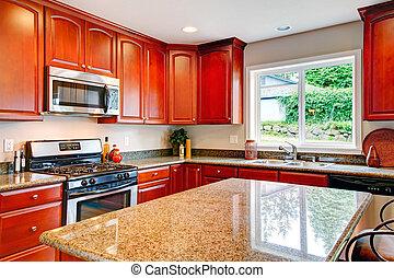 貯蔵, 明るい, 木, さくらんぼ, 台所, 部屋, 組合せ
