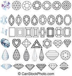 貴重な 宝石, 形態, セット, 石, 切口