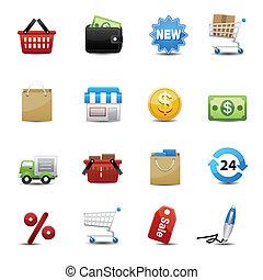 買い物, ベクトル, セット, アイコン