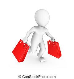 買い物, 人々。, セール, 小さい, concept., 3d